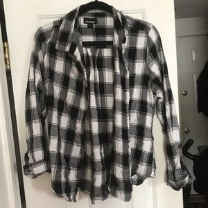 Black and white flannel shirt